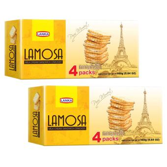 Bộ 2 bánh cracker kẹp kem sữa Lamosa 160g