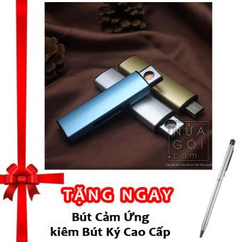 Bật lửa hồng ngoại kiểu dáng USB vỏ kim loại F526 (Bạc) + Tặng bút ký kiêm bút cảm ứng cho smartphone và tablet