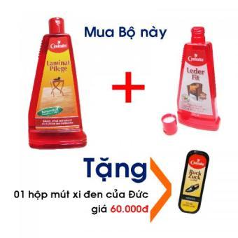Bộ Nước lau sàn gỗ cao cấp 500ml và Sữa làm sạch, dưỡng mềm da thật 250ml, tặng kèm 01 hộp mút đánh giày xi đen tiện dụng, 100% hàng Đức