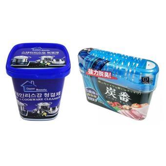 Combo Hộp kem Siêu tẩy vết bẩn chậu rửa, mặt bếp, vòi sen, nhà tắm + Khử mùi, diệt khuẩn tủ lạnh Nhật Bản