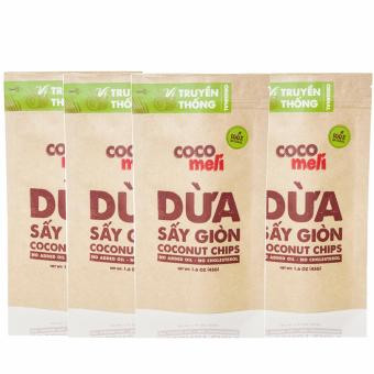 Bộ 4 bịch dừa sấy giòn Cocomeli 45gr