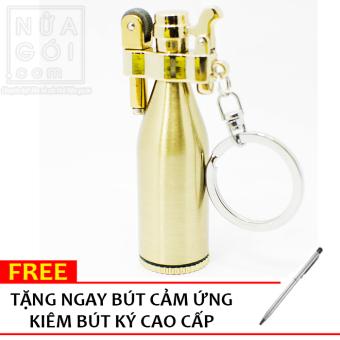 Bật lửa đá xăng Jobon hình chai rượu F506 (Vàng) + Tặng bút cảm ứng kiêm bút ký cho smartphone và tablet
