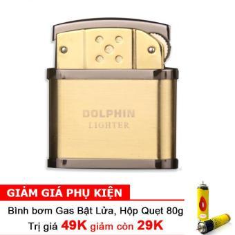 Bật Lửa Cối Dolphin Classical F501 (Vàng) + Bình bơm gas Bật lửa 80g