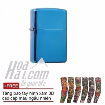 Bật lửa đá xăng HOAHAI.COM (Xanh) + Tặng kèm găng tay hình xăm 3D
