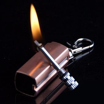 Bật lửa móc khóa mini xăng kiểu quẹt diêm HY613 vỏ hợp kim (Nâu đỏ)