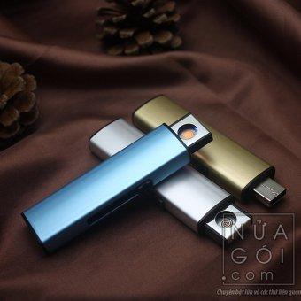 Bật lửa hồng ngoại kiểu dáng USB vỏ kim loại F526 (bạc)