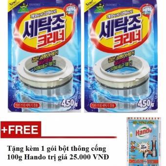Bộ 2 gói bột tẩy vệ sinh lồng máy giặt 450g + Tặng kèm 1 gói bột thông cống nội địa Hando 100g HH577