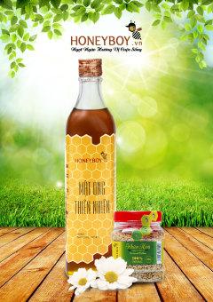 Bộ Mật ong thiên nhiên HONEYBOY 500ml và Phấn hoa thiên nhiên 100g