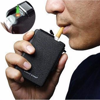 Hộp đựng thuốc lá kiêm bật lửa gas dạng khò (màu đen)
