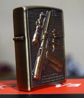 Bật lửa đá xăng Classical 3D F28 + Tặng Bộ 7 viên đá và 1 bấc bật lửa