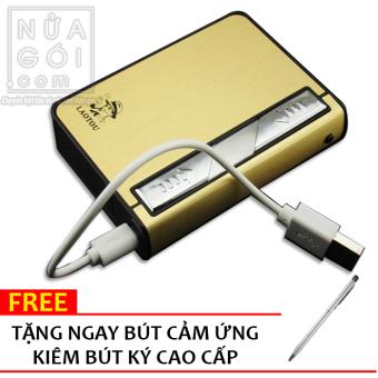 Hộp Đựng Thuốc Lá Kiêm Bật Lửa Hồng Ngoại Kèm Cáp Sạc F636 (Vàng) + Tặng bút cảm ứng kiêm bút ký cho smartphone và tablet