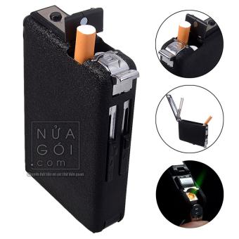 Hộp đựng thuốc lá kiêm bật lửa khò C643 (Mẫu Lightgood đen)