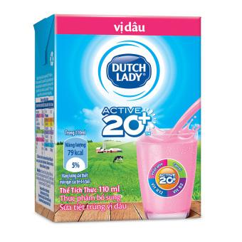Thùng 48 hộp sữa tươi tiệt trùng Dutch Lady vị dâu 110ml
