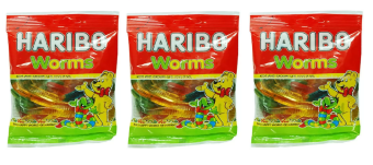 Bộ 3 gói kẹo dẻo Haribo Worm 80g