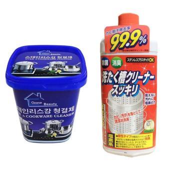 Bộ Hộp kem tẩy rửa nhà bếp đa năng và Dung dịch vệ sinh lồng máy giặt Nhật Bản