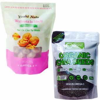 Bộ Chia Seeds , Organic Nhập Từ Úc (1kg) và Hạt Óc Chó Yeah! Nuts Sấy(500gr) +Tặng 1 Gói Rong Biển Hàn Quốc Ăn Liền