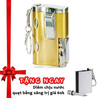 Bật lửa khò đa năng kiêm soi tiền giả và đèn pin F536 (vàng) + Tặng diêm chịu nước quẹt bằng xăng độc đáo classic