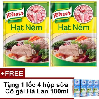 Bộ 2 gói hạt nêm Knorr thịt thăn, xương ống và tủy 900g + Tặng 1lốc sữa cô gái hà lan 180ml