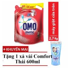 Nước giặt OMO Mactic cửa trên 2.7 kg tặng xả vải Comfort Thái 600ml