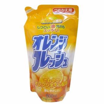Nước rửa chén Nhật Bản đậm đặc hương cam - 500ml (dạng refill)