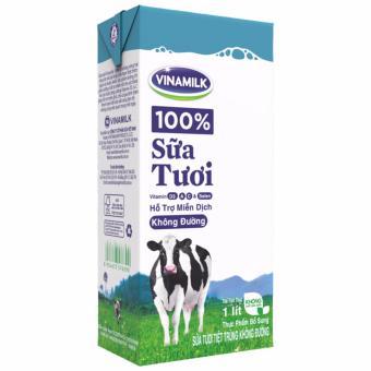 Thùng 12 Hộp Sữa tươi tiệt trùng Vinamilk 100% Không đường 1L (Hộpgiấy)