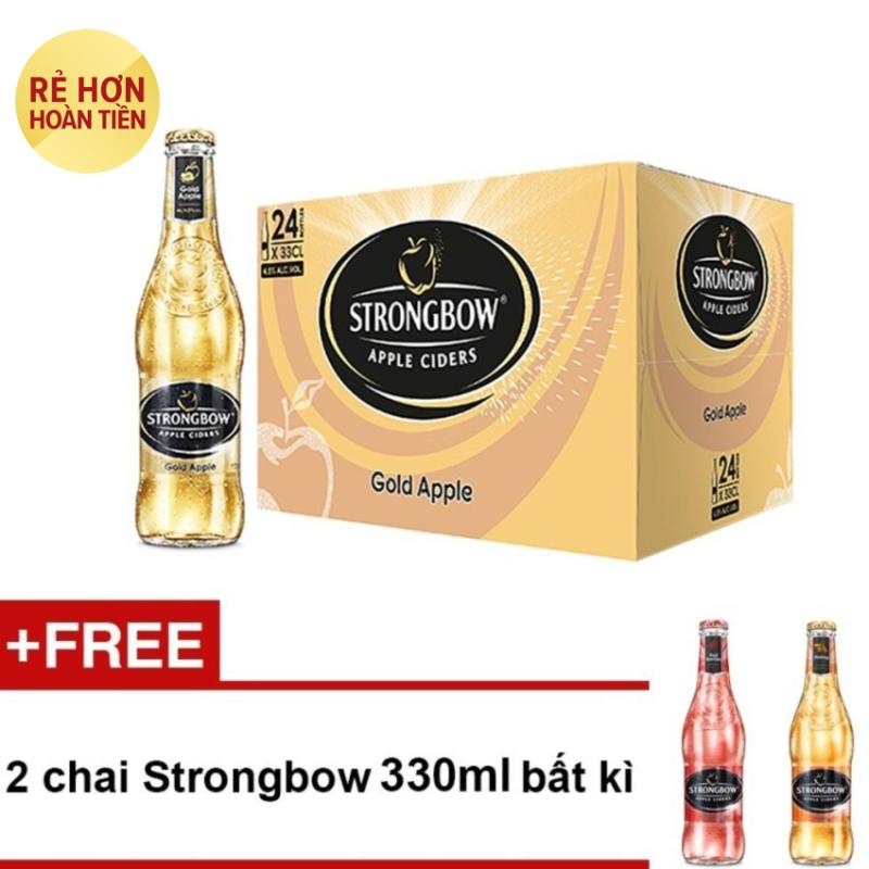 Nơi bán Thùng 24 chai Strongbow Gold vị táo nguyên bản 330ml + Tặng 2 chai Strongbow 330ml bất kì