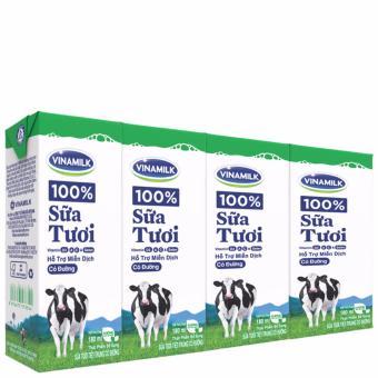 Tiết kiệm mua Thùng 48 Hộp Sữa tươi tiệt trùng Vinamilk 100% Có đường 180ml