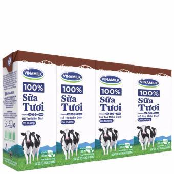 Thùng 48 Hộp Sữa tươi tiệt trùng Vinamilk 100% Sôcôla 180ml