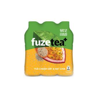Trà hạt Chia Fuzetea+ hương Chanh Dây lốc 6 chai 450ml