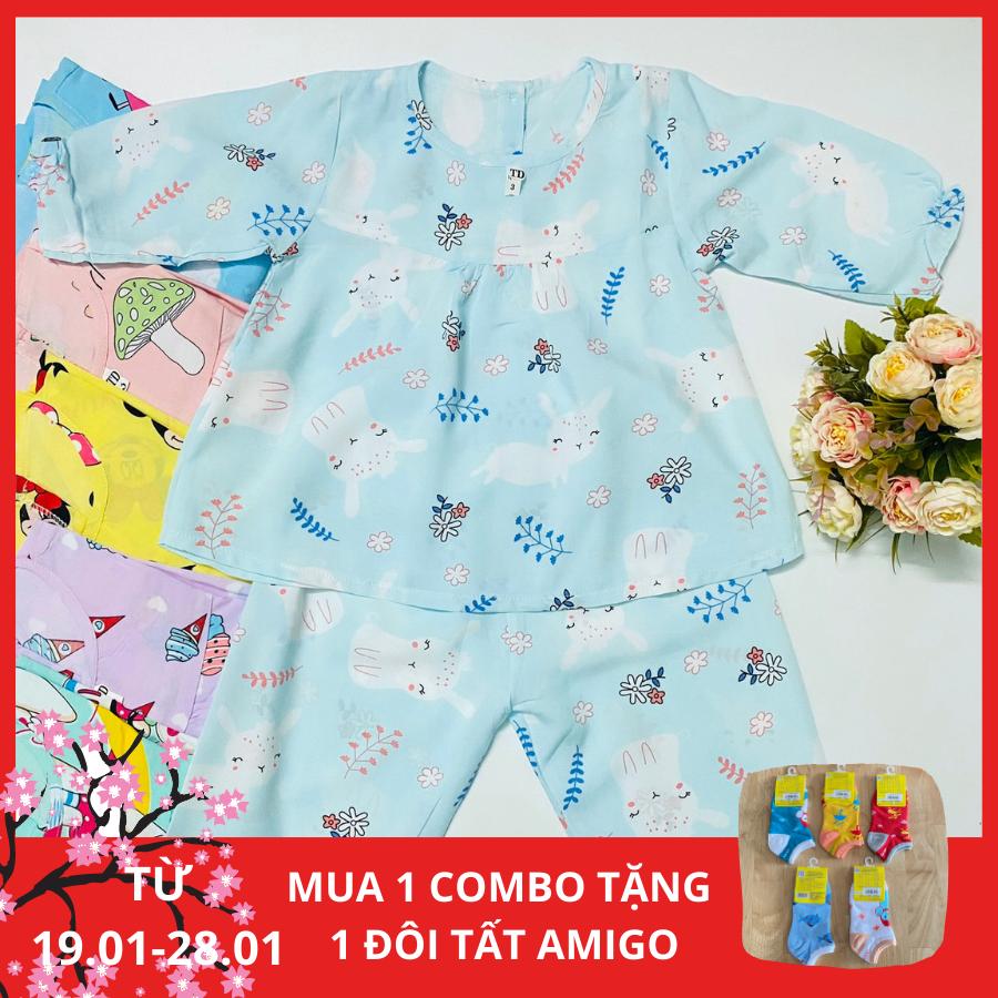 Combo 3 bộ quẩn áo bé gái - đồ bộ bé gái Tole lanh 2 da tay dài mềm mịn (hàng Việt Nam chất lượng) chất vải mát mềm thoải mái an toàn cho làn da bé