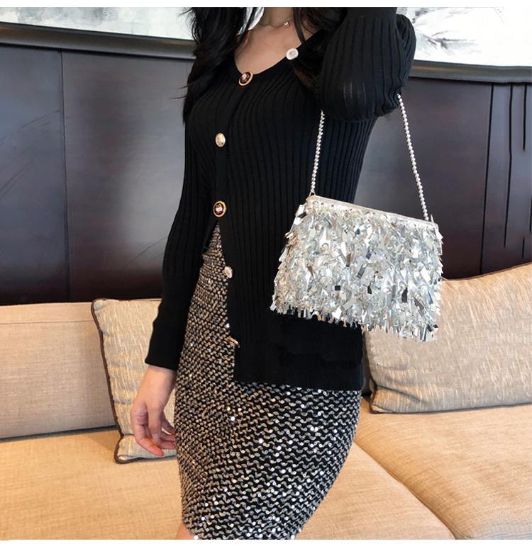 HOLILA Xu hướng mới Phụ nữ Handmade sáng bóng Túi sequin tua rua Túi đính cườm Chuỗi Túi xách tay hàng đầu Túi xách nữ Phong cách Hàn Quốc Túi laser thời trang # 113