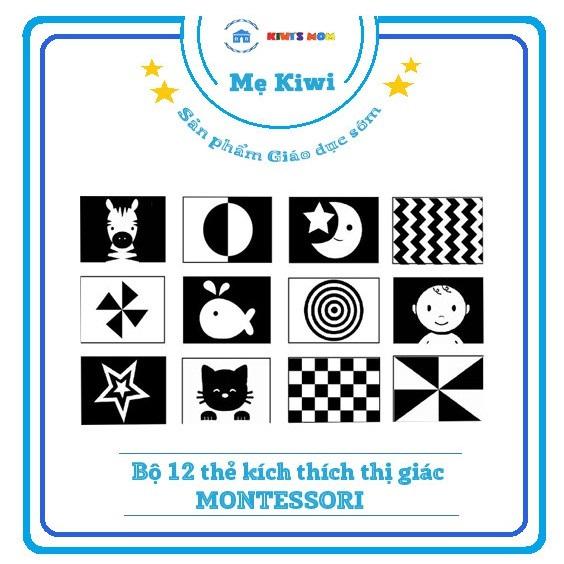 [Flashcard] Bộ 12 Thẻ Kích Thích Thị Giác Cho Bé Sơ Sinh [Chuẩn Phương Pháp Montessori]