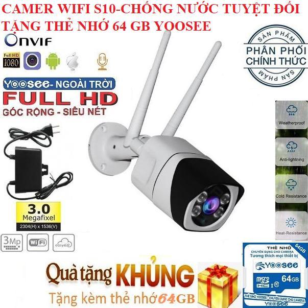 (BH 24 tháng,TẶNG THẺ NHỚ 64GB YOOSEE),Camera trong nhà,ngoài trời S10,Camera wifi chống nước,chống trộm,hình ảnh sắc nét,lưu trữ video