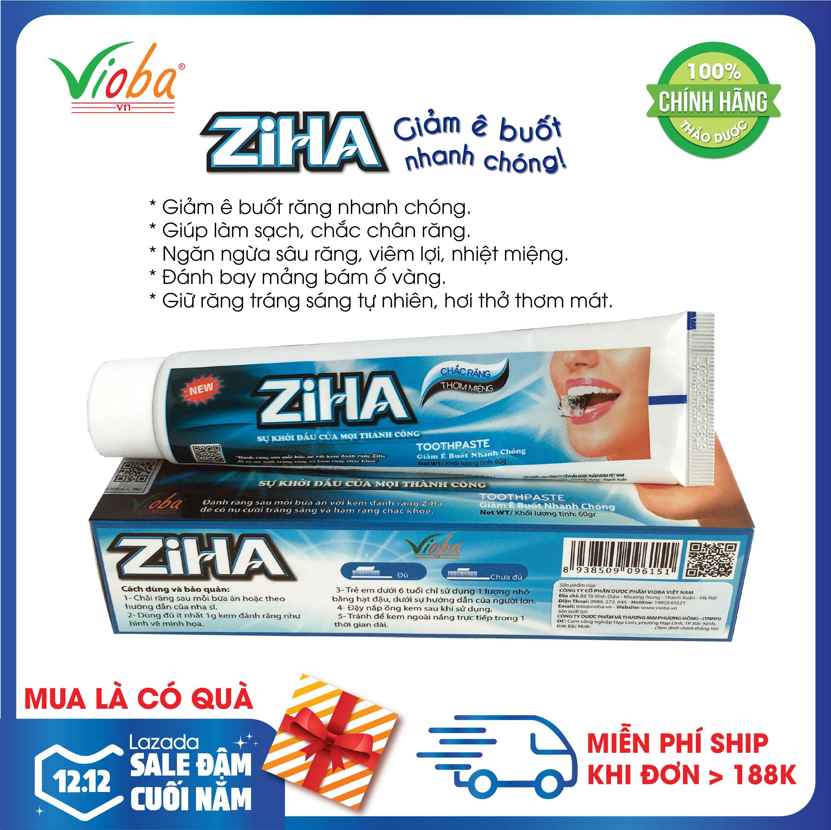 Kem đánh răng thảo dược giảm ê buốt nhanh chóng, làm sạch, ngừa sâu răng, giúp răng chắc khỏe, trắng sáng tự nhiên, ngăn ngừa viêm lợi, nhiệt miệng, hơi thở thơm - Kem đánh răng ZIHA của Vioba hộp 60g