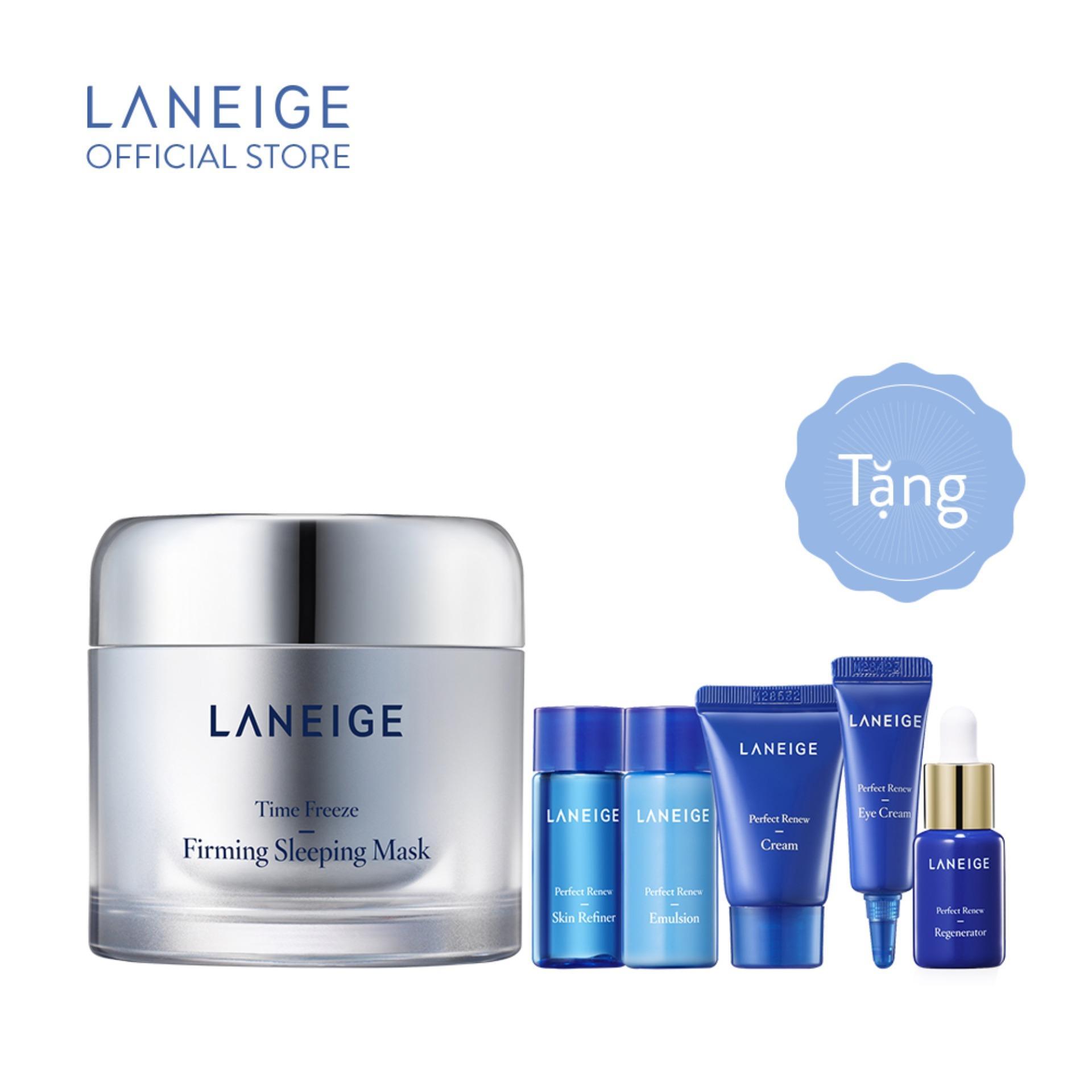 Mặt nạ ngủ ngăn ngừa lão hóa Laneige Time Freeze Firming Sleeping Mask 60ml + Tặng Bộ dưỡng da ngăn ngừa lão hóa Renew Trial Kit