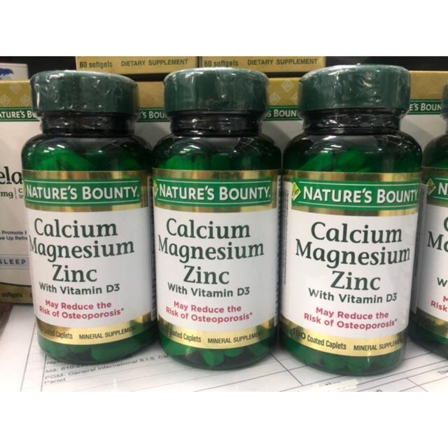Viên uống bổ sung Calcium magnesium zinc Nature's bounty 100 viên