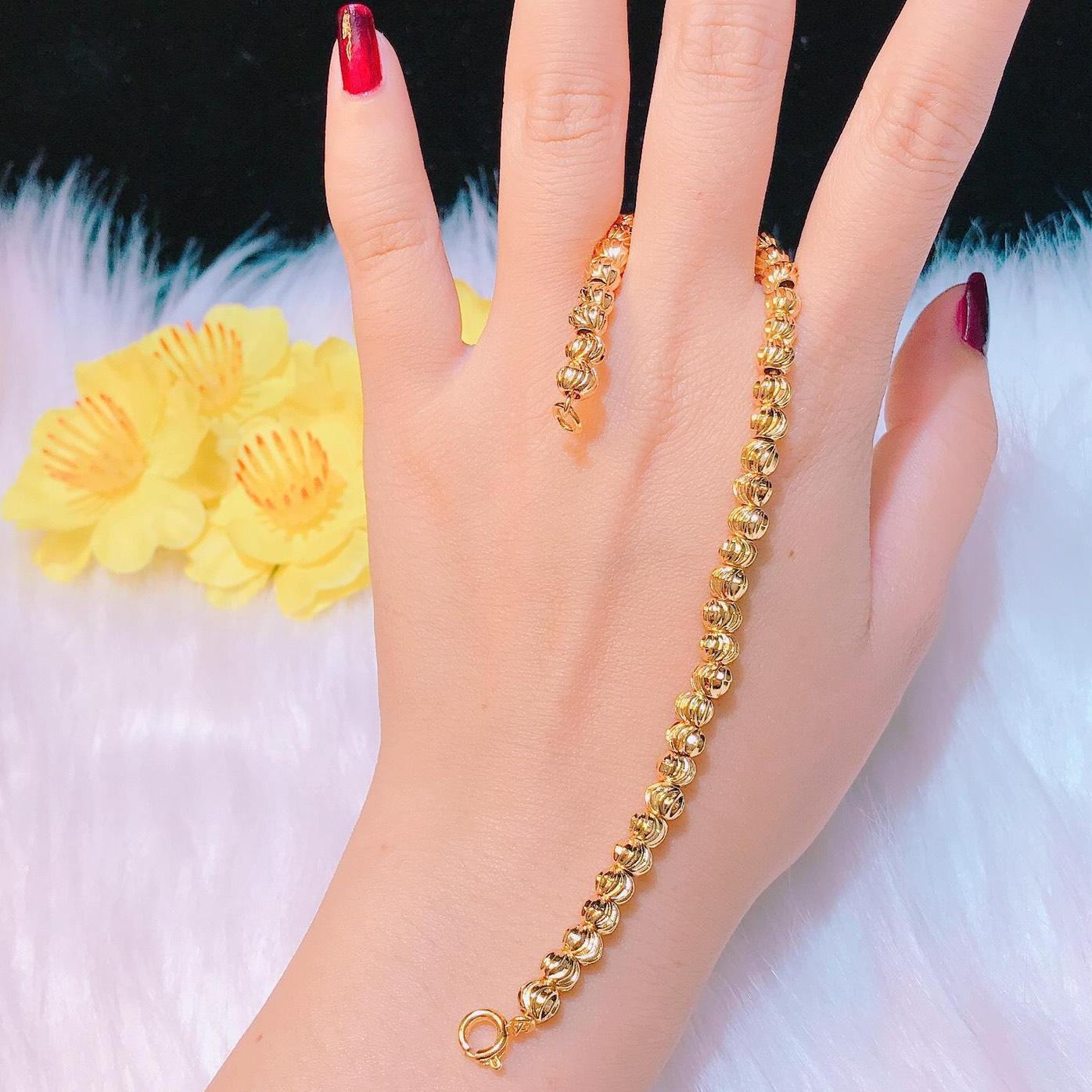 [GIẢM GIÁ SỐC] Vòng tay nữ đẹp, lắc tay mạ vàng cao cấp nữ đẹp bi tròn đều chạm khắc hoa văn tinh tế sang trọng sáng lấp lánh dễ thương Trang sức Miga KL02101910- đeo đi tiệc đi chơi làm công sở cực sang chảnh và quý phái
