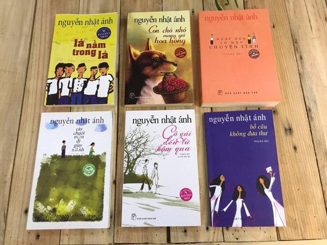 Combo 6 sách Nguyễn Nhật Ánh: Lá nằm trong lá, Con chó nhỏ mang giỏ hoa hồng, Ngày xưa có một chuyện tình, Cây chuối non, Cô gái đến từ hôm qua, Bồ câu không đưa thưa