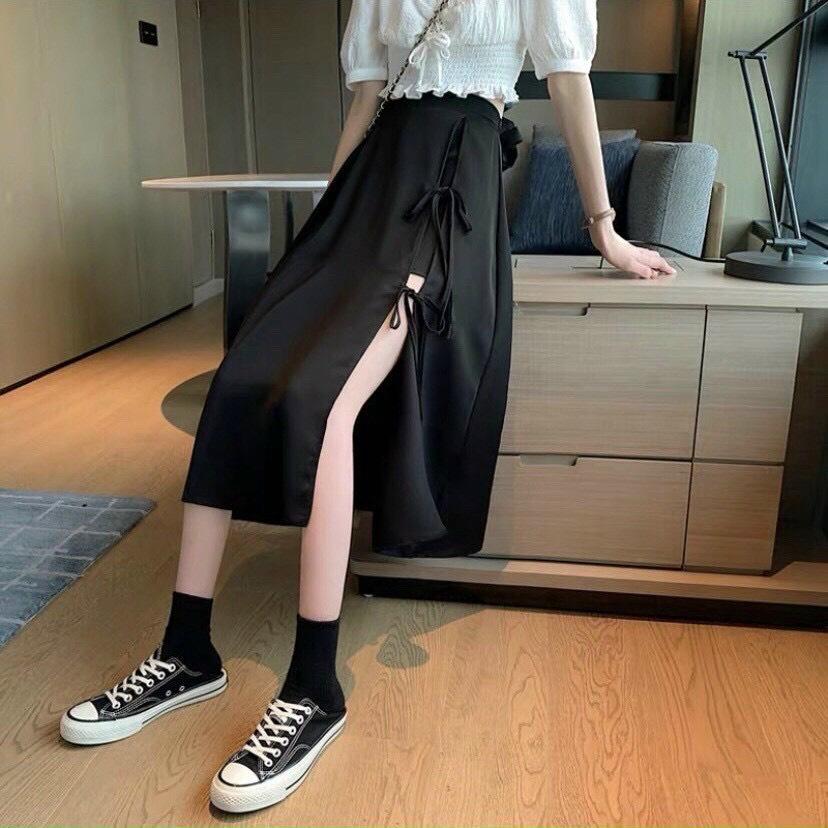 Chân váy đen xẻ tà cá tính _ chân váy dài midi đen xoè cá tính phong cách bohee