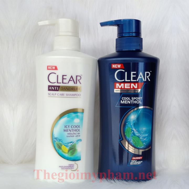 Combo Dầu Gội Clear Bạc Hà 480ml Và Clear Men 450ml Thái Lan - Tặng 7 Gói Sữa Tắm Aqua