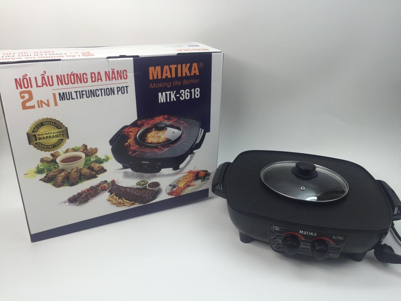 Nồi áp suất điện Matika 6L 1000W có điều chỉnh áp màu đỏ đen MTK - 9262