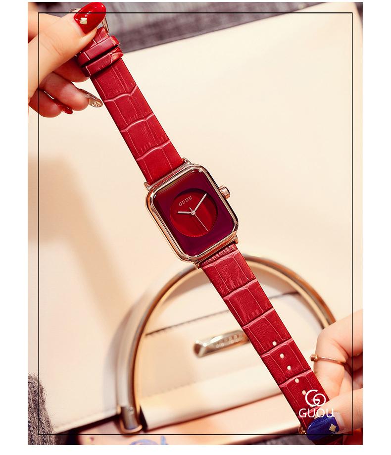 Đồng hồ Nữ GUOU Dây Mềm Mại đeo rất êm tay, Chống Nước Tốt, Bảo Hành Máy 12 Tháng Toàn Quốc 16