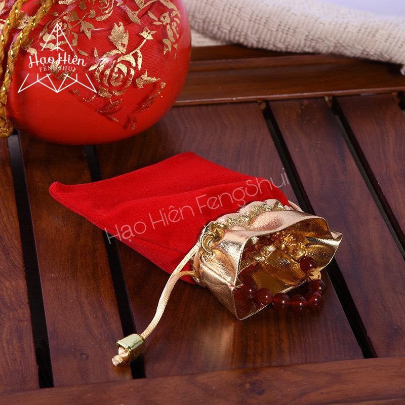 *Quà tặng* túi Gấm nhung đỏ dây rút đựng trang sức viền Vàng cao cấp