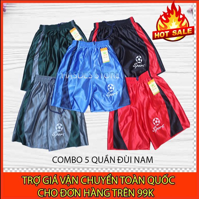 Bộ 5 Quần Đùi Nam vải dù - Quần short nam mặc nhà cao cấp