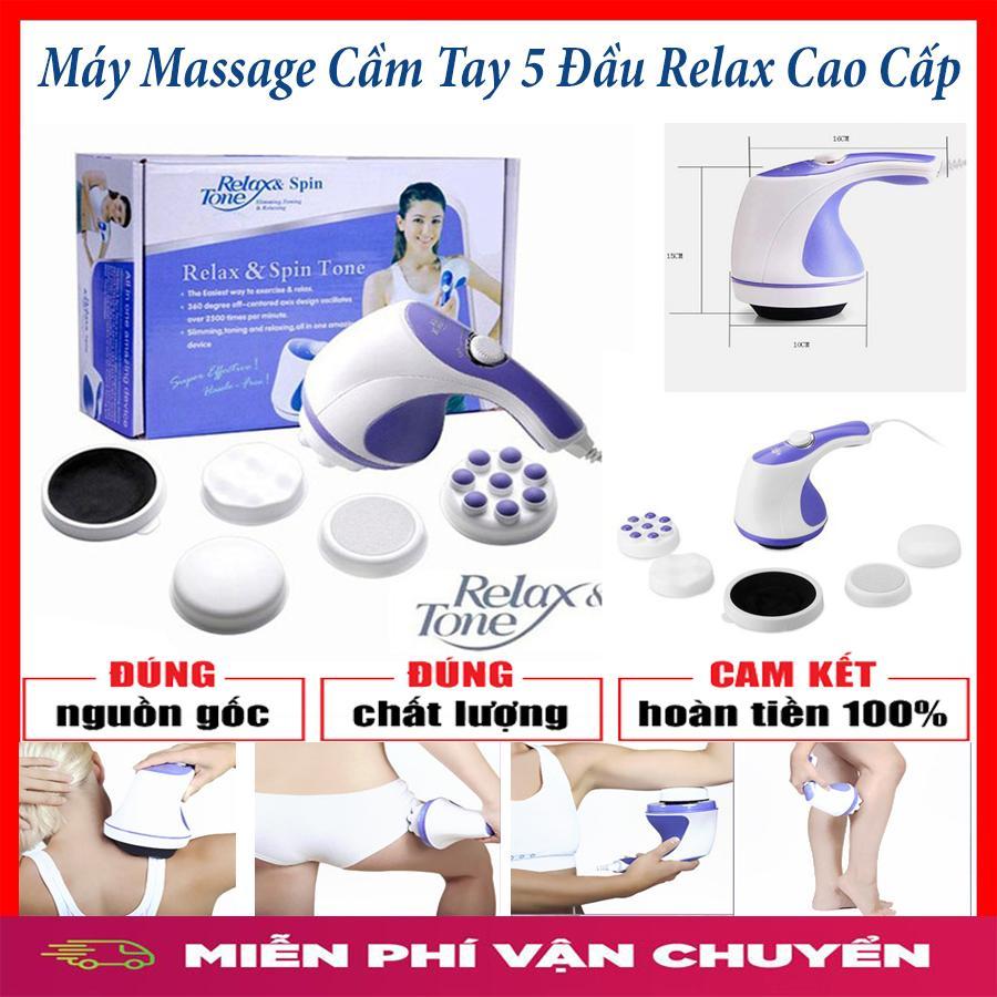 [XẢ KHO 3 NGÀY ] Đánh Tan Mỡ Bụng, Máy Massage Cầm Tay 5 Đầu Relax & Spin Tone Máy matxa cam tay massage relax cầm tay dành cho người già khó tính bị đau lưng,massage toàn thân chống mõi,5 trong 1 sản phẩm cao cấp USA bảo hành uy tín 12 tháng