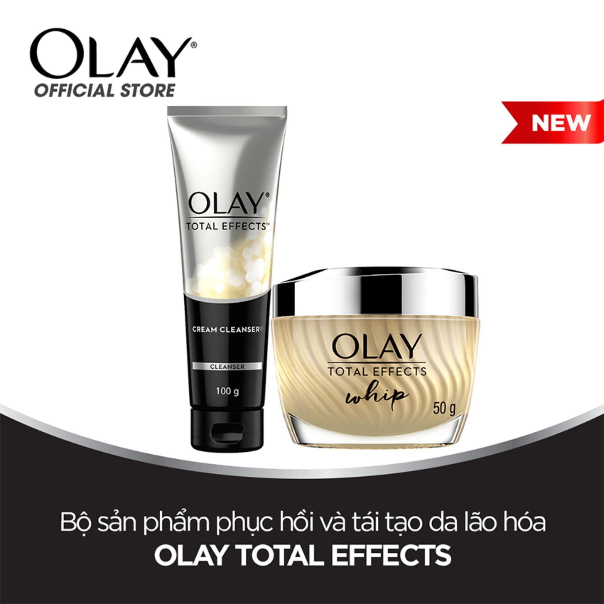 Bộ 2 sản phẩm phục hồi và tái tạo da Olay Total Effects Whip: 1 Kem dưỡng 50g + 1 Sữa rửa mặt dạng kem 100g