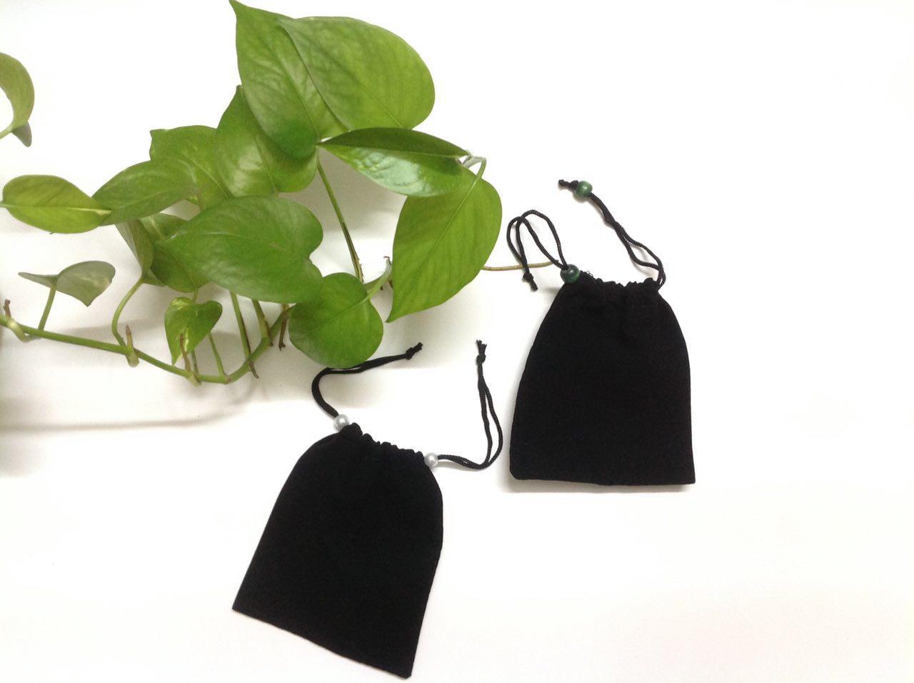 Túi nhung đen dày 10cm * 12cm có dây rút đựng nữ trang, mỹ phẩm