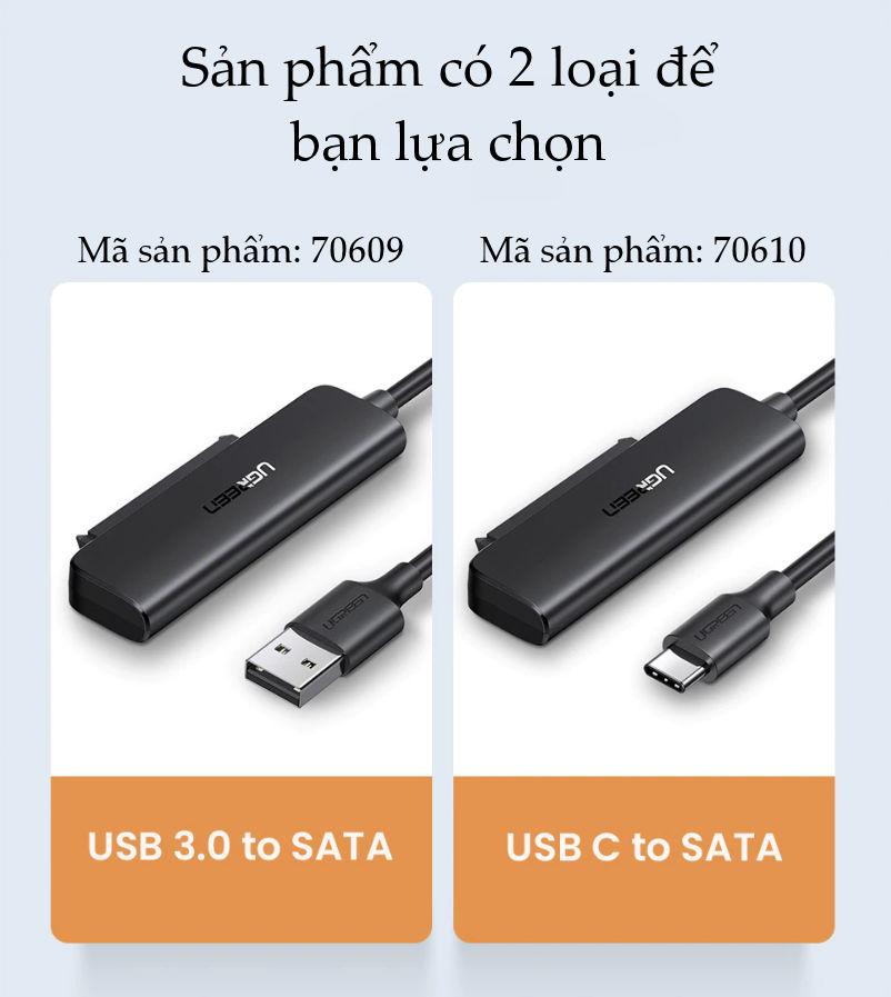 Cáp chuyển đổi USB 3.0 / USB type C sang Sata (7+15) cho ổ cứng ngoài SSD, HDD 2.5 inch, dài 50cm UGREEN CM321
