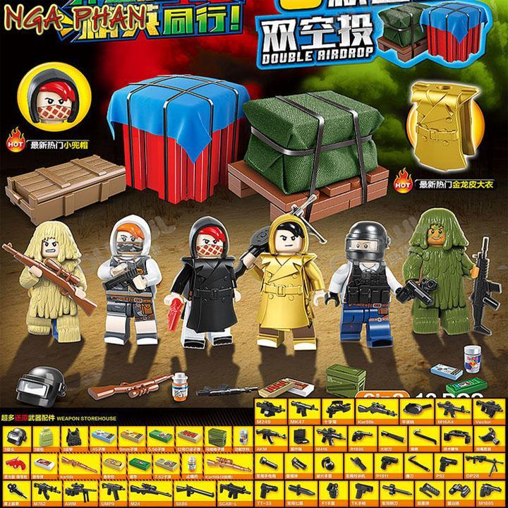 Bộ 6 Nhân Vật Game PUBG Và 2 Hòm Thính Lego Quan Guan Đồ Chơi Xếp Hình Lắp Ráp
