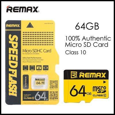 Thẻ nhớ 64GB Micro SDHC Class 10 thương hiệu Remax màu vàng dễ nhận diện cho điện thoại , Camera tặng kèm Đầu đọc thẻ tiện lợi